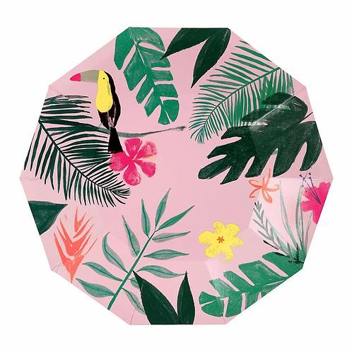 Meri Meri Pink Tropical Plates