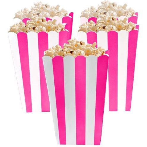 Bright Pink Stripe Popcorn Boxes