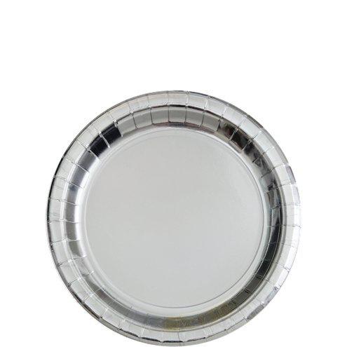 Metallic Silver Dessert Plate