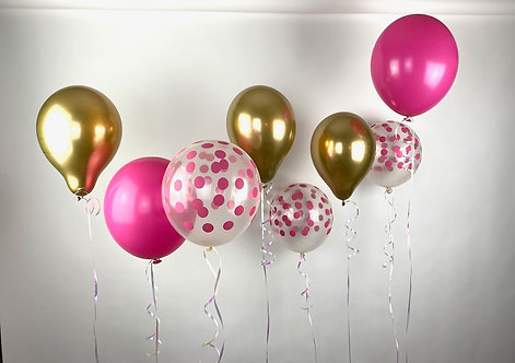 Pink, Confetti and Gold Balloon Mix