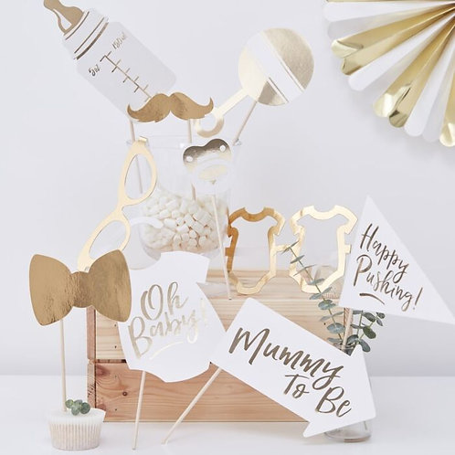 Gold Foil Baby Shower Photo Booth Props