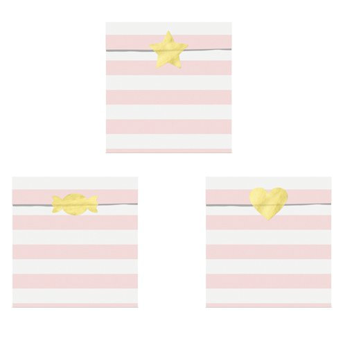 Pale Pink Stripe Treat Bags with shaped sticker seals