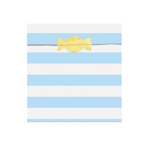 Pale Blue Stripe Treat Bags with shaped sticker seals