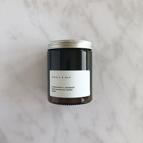 Pomegranate and Patchouli Hand Poured Soy Candle