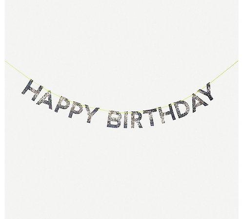 Silver Sparkly Happy Birthday Banner