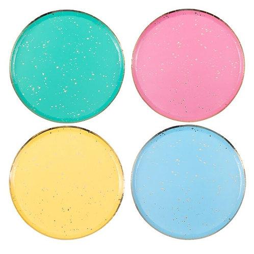 Gold Flecked Bright Rainbow Party Plates