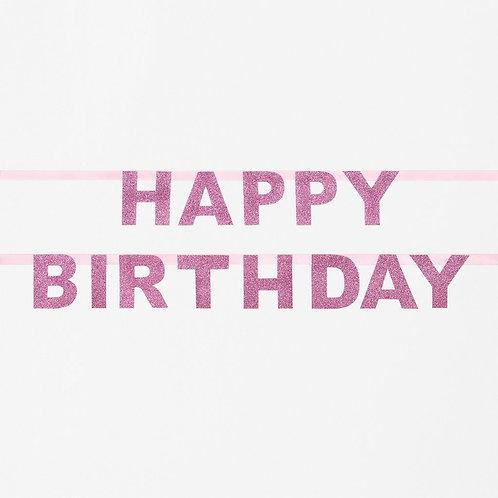 Pink Happy Birthday Glitter Garland
