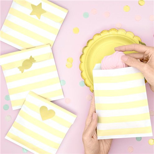 Pastel Yellow Stripe Treat Bags with shaped sticker seals