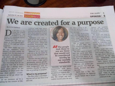 We are created for a purpose.