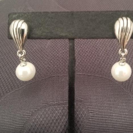 Simulated Pearl Dangle Earrings