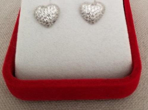 Pave CZ Heart Earrings