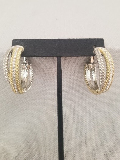 Silver ang Gold Braided Hoops