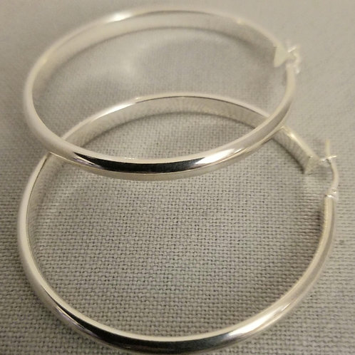 Large Sterling Silver Flat Hoops