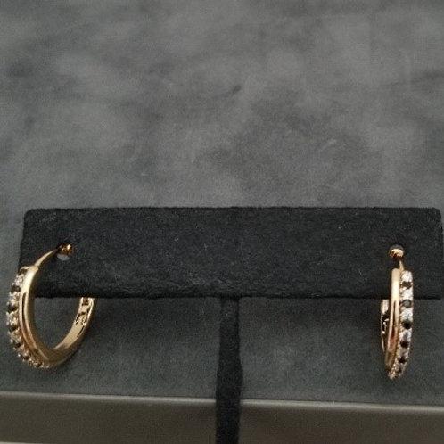 Gold  & Black Cubic Zirconia Hoops