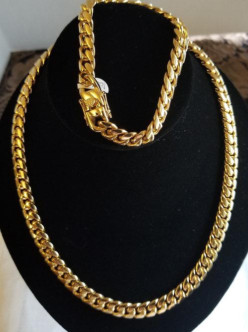 Gold Cuban Link Set