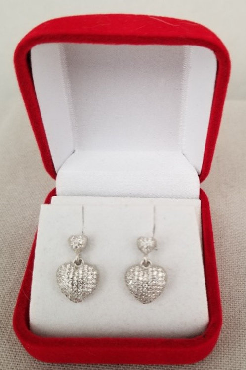 Pave CZ Hanging Heart Earrings