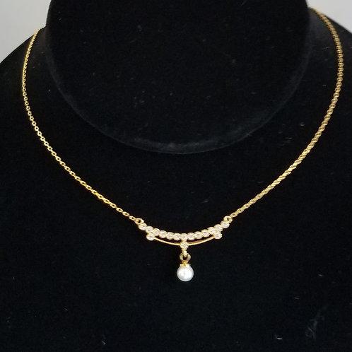 Small Pearl Necklace W Circonia