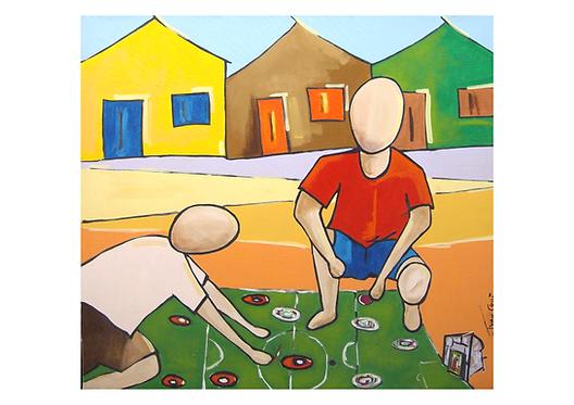 """Gravura """"Jogando Botão"""" - A4 - Por Ivan Cruz"""