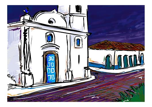 """Gravura """"Igreja de São Benedito"""" - A4 - Por Yuri Vasconcellos"""