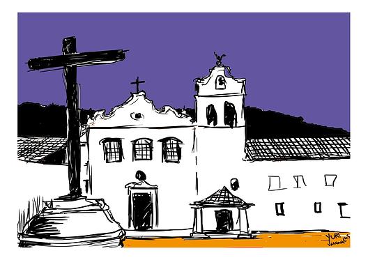 """Gravura """"Convento Nossa Senhora dos Anjos"""" - A4 - Por Yuri Vasconcellos"""