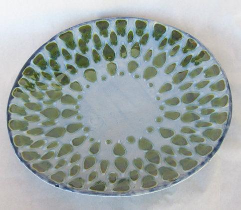 Seaweed and Sky Blue Celadon Mandala Platter