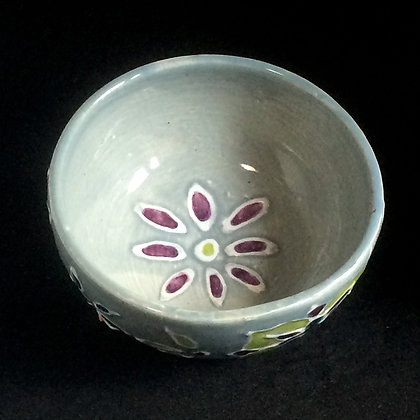 Blue Celadon, Pear & Purple Mandala Small Bowl