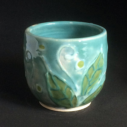 Robin's Egg Blue & Jade Leaf Mug