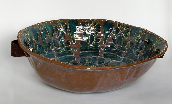 Large Leather Hand Lotus Bowl