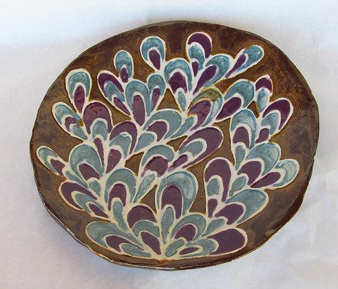 Eggplant & Blu Peacock Pattern Platter