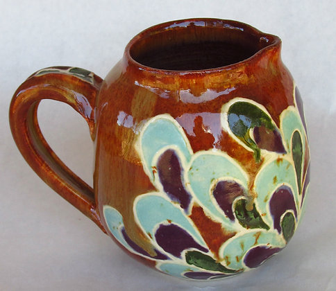 Satin Turg, eggplant and rust pitcher