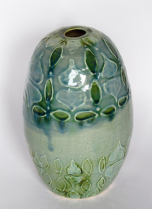 Slip Trail Tall Egg Vase in sea colors