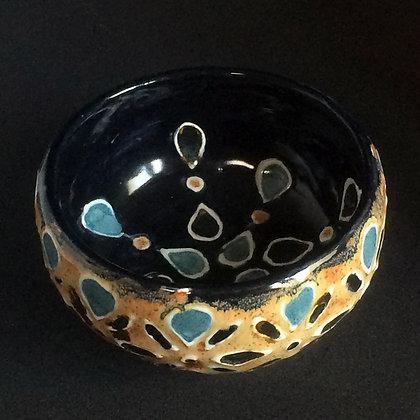 Black, Jade & Shino Lotus Small Bowl