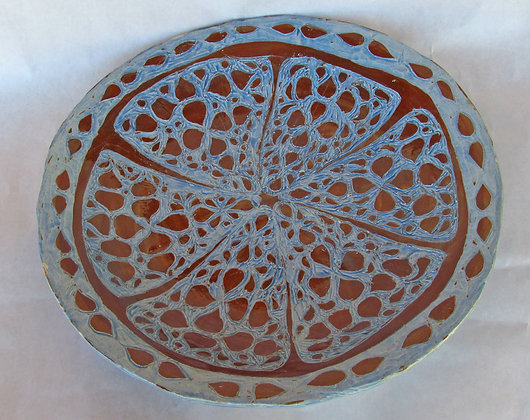 Carved Brown & Sky Blue Large Deep Platter