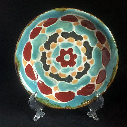 Red, jade, iron mandala small plate