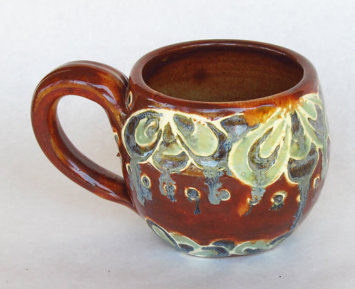 Rust and Blue Peacock Pattern Mug