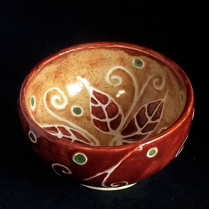 Red & Shino Leaf Small Bowl