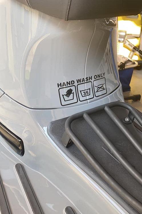 """Sticker """"Hand wash only""""glänzend"""