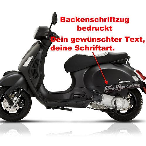 Schriftzug bedruckt für die Backe li. + re.