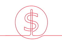 Red line drawing of a dollar sign