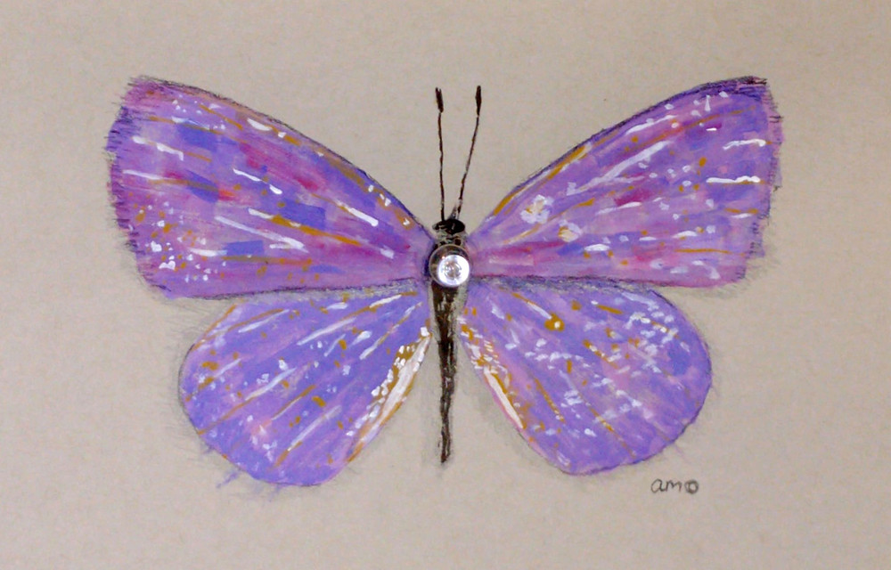 A mixed media painting of a butterfly with a thumbtack pushed through the center, where one would put a pin in a specimen butterfly.