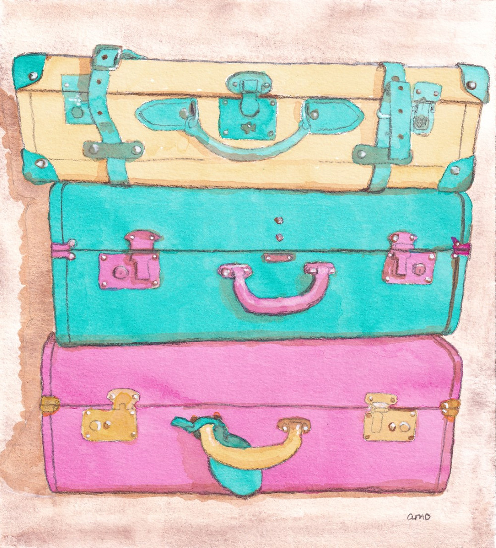 A stack of vintage suitcases, mixed media on paper.