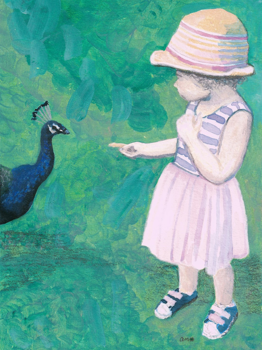 A painting of a young girl hand feeding a peacock some food.