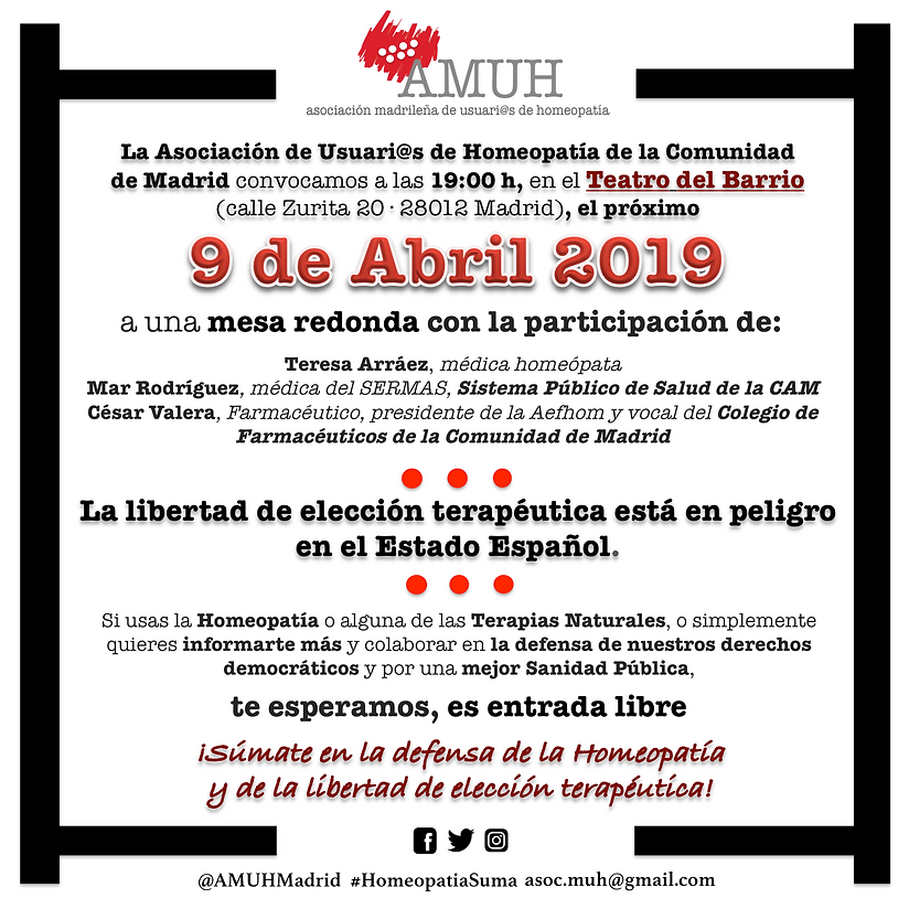 Cartel Acto Homeopatia 9 Abril 2019 cuad