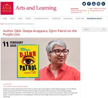 Asia House Arts - Deepa Anappara