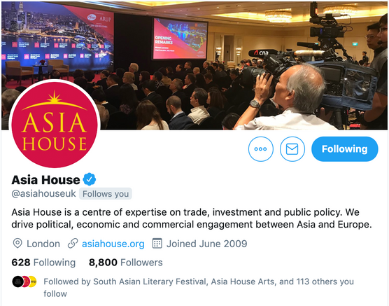 Asia House Twitter