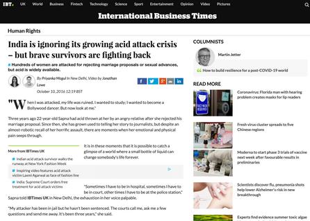 IBT India acid attacks