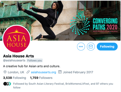 Asia House Arts Twitter