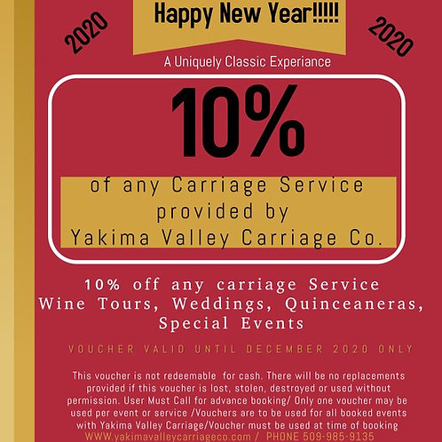 Yakima Valley Carriage 10% Off New Years Certificate