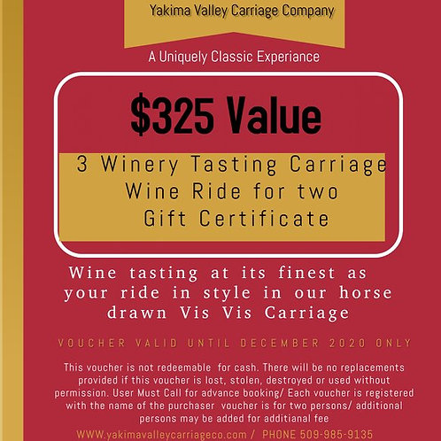 3 Winery Carriage Ride for Two Gift Certificate