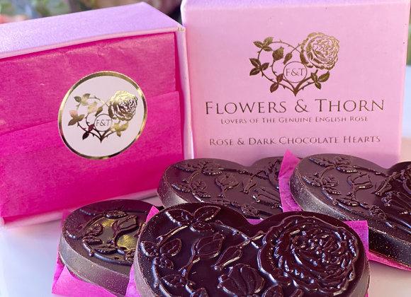 Rose & Dark Chocolate Hearts